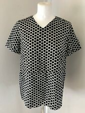 5bea3b24bf MARNI Ladies V Neck Boxy Top With Black Navy And White Polka Dot Pattern  Size S