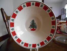 "Holiday Homecoming Vegetable Bowl  9"" Christmas Stoneware Folkcraft Red Green !"