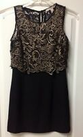 FOREVER 21 Crochet Lace Combo Dress Black/Metallic Gold Small S SOLD OUT