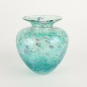 Vintage Tim Lazer Glass Vase Iridescent Turquoise Blue 1991 5in