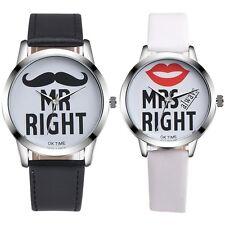 Fashion MR MRS Couple Watch Men Women Stainless Steel Leather Quartz WristWatch