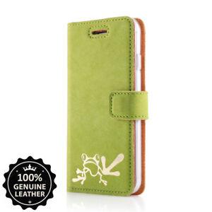 SURAZO® Premium Echtes Ledertasche Hülle Handy Case Cover Grün mit Gold Frosch