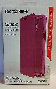 NEW Tech21 Samsung Galaxy Note 5 Evo Wallet Flip Cover Case Pink