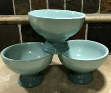 """Set of 3 """"Cool Mint"""" LE CREUSET Footed Ice Cream Dessert Bowls Sorbet Collection"""