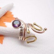 Mystic Topas rosa grün Kupfer gold Design Ring Ø 17,5 mm 925 Sterling Silber neu