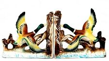GORGEOUS RARE ANTIQUE TILSO JAPAN WILD GEESE HAND PAINTED CERAMIC BOOKENDS SET