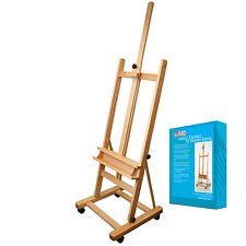 US Art Supply Classic Hand-Finished Wood Studio Adjustable H-Frame Artist Easel