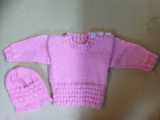 Hand Knitted Baby Jumper & Hat 5-6 Months Pink