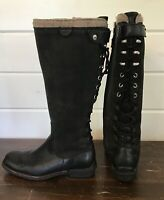 UGG Smithfield Women's Tall Leather Boots Size 5 Black Lace Up Zip Up #5746
