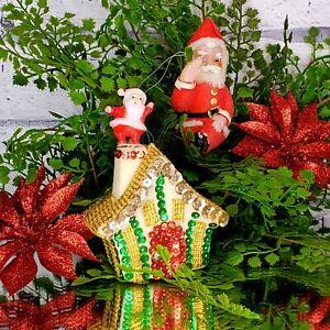 Vintage Santa Sequin House & Flocked Santa Ornaments 50's MCM Set of 2