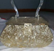 Vintage 1950s Gilli Pearlized Gold Confetti Lucite Handbag Purse Carved Great!