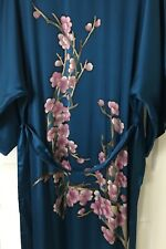 NWT Asian 100% Silk Kimono Robe Peacock Blue Cherry Blossoms Womens Sz L