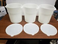 3 - Carlisle Round Food Storage Containers 3 1/2qt NSF - w/lids
