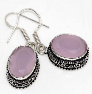 """Pink Chalcedony 925 Silver Plated Vintage Earrings 1.5"""" Ethnic Jewelry GW"""