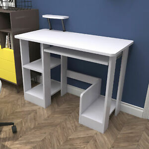 Compact Computer Desk Table Student Study Writing Workstation Book Shelves Home