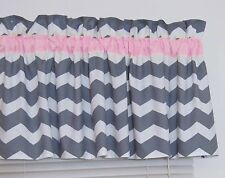 Sweet Baby Pink and Gray Chevron Window Valance Zig Zag Nursery Decor FREE SHIP