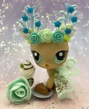 Authentic Littlest Pet Shop # 979 Tan Brown Deer Aqua Eyes Custom Antler Outfit