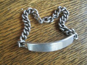 """G.W. products Vintage Sterling 8"""" Heavy Link ID Bracelet Not Engraved  8/10 oz."""