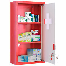 HOMCOM Wall Mount 3-tier Medicine Cabinet First Aid Lockable Frosted Glass Door