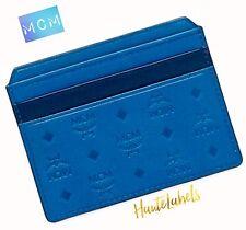 MCM Card Case Men's Wallet MUNICH BLUE & BLACK LEATHER / Boxed NWT