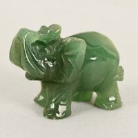 Handmade Carved Natural Green Jade Stone Craving Elephant Statue Office Decor