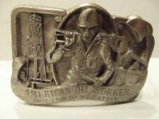 Vintage Belt Buckle American Oil Worker Commemorative Limited Edition 1987