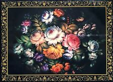 RUSSIAN LACQUERED TRINKET BOX/ FLOWERS/ZHOSTOVO STYLE/3x4in/7.5x10cm/BRAND NEW