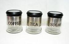 3Pc Glass Window Canister Jar Set Tea Coffee Sugar Cannister Jars 093C
