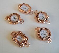 SET OF 5 ROSE GOLD FINISH WATCH FACES FOR BEADING OR OTHER USE