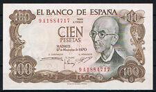 ESPAÑA 100 PESETAS 1970 MANUEL DE FALLA Serie 9A   SC-   AUNC