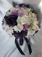 17pcs Wedding Bridal Bouquet Flowers Bride Bridesmaid Boutonniere Ivory / Purple