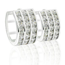 13mm 14k WHITE GOLD COVERED STERLING SILVER HUGGIE EARRINGS ZERCON 3 ROW