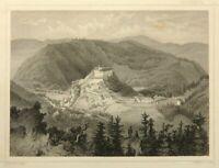 G.KURZ(1815-1883), Ansicht von Schloss Schwarzburg in Thüringen, Stahlstich
