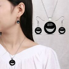 We're All Mad Here Glow in the Dark Time Gem Pendant Necklace Jewelry Set Party