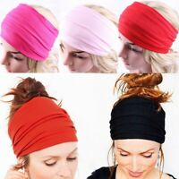 Lady Boho Yoga Wide Headbands Hairband Women Elastic Hair Wrap Sport Bandana