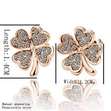 18K Rose Gold Filled GF GP Four Leaf Clover Stud Earings With Rhinestone Crystal