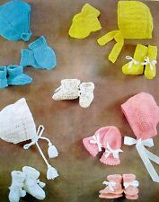 R1072 Baby Girl 4x Hat's Mitts & Bootee Sets 0-9mth Vintage Knitting Pattern