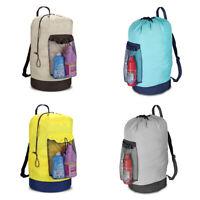 Laundry Backpack Shoulder Bag With Mesh Pocket Drawstring.Closure.Adjustable.
