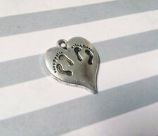 Footprints Charms Silver Heart Charms Twins Charms Baby Feet Charms Foot Prints