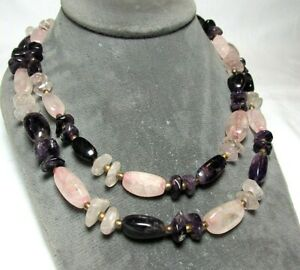 """Amethyst and Rose Quartz Necklace / Gold Plate 105.9 grams 36 1/4"""" lot 29h7"""