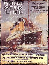 WHITE STAR LINE TITANIC OLYMPIC ADVERT METAL SIGN RETRO STYLE12x16in 30X40cm