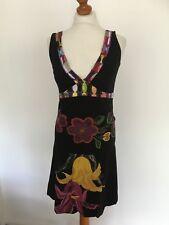 Desigual Black/Multi Cotton Jersey Sleeveless V Necked Dress Pufball Hem Size M