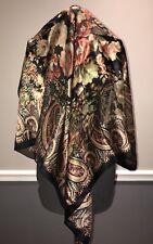 "Lauren Ralph Lauren Silk Scarf Black Floral Paisley Pattern Large Luxury 35""x35"""