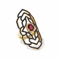 Rarities 14k Ruby and Black Spinel Black Rhodium Vermeil Tattoo Ring Sz 7