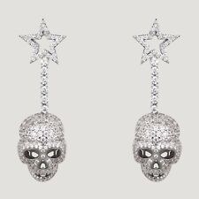 Butler And Wilson Silvertone Crystal Star Skull Drop Earrings New