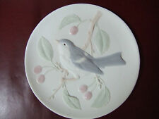 Porcelain matted Plate Bluebird with cherry (Reduced