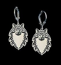 Norweigan Forest Cat Earrings -Fashion Jewellery - Silver Plated, Leverback Hook