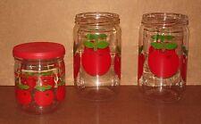 3 bocaux pots HENKEL vintage pommes rouges cuisine pub pots cuisine épices