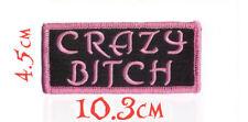 "Quality Iron/Sew on ""Crazy Bitch"" lady biker funny girls women patch applique"