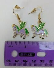 Pierced Dangle Earrings Pair Lavender/Green Unicorn Pegasus Unipeg Pony 22mm